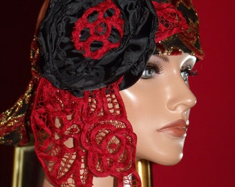 Headband Gypsy Boho  Millinery Floral  Lace 1920 style Flapper Wrap
