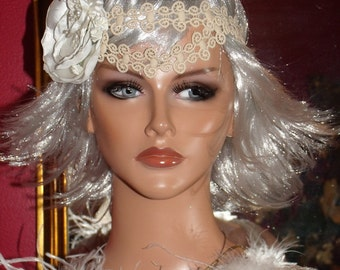 1920s Headband Flapper  Tiara Antique style  RibbonLace Millinery Floral