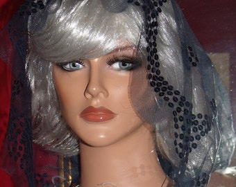 Aristocratic Mantilla Veil Hood Antique style Church Wrap Beaded blue tone