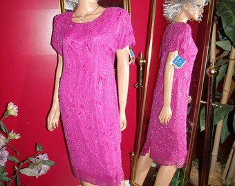 Vintage 80s Fully Beaded Dress Flapper  Fuchsia  Size L