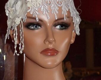 Wedding Headband  Lace Fringe Millinery Floral 1920 style Wrap