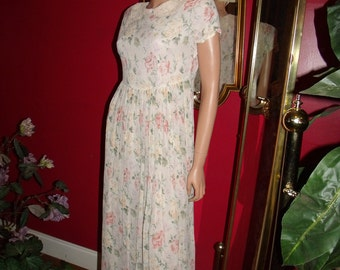 Vintage Mary Ordinary  Flapper Dress  Floral   does Tea Party Garden  20sTheme Size S
