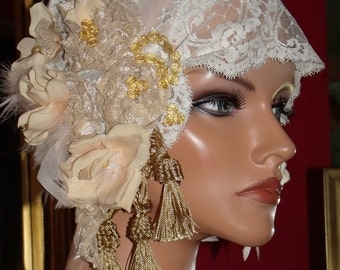 Wedding Flapper Hat Cloche  Antique White tone French Lace Size 24""