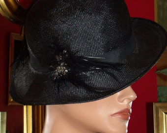Flapper Hat Derby Black Straw  Hat Church  Tea Party Millinery Floral Feather