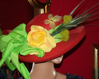 Kentucky Derby Hat Wide Brim Tea Party Millinery floral