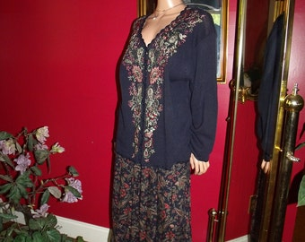 Vintage   Exclusive embroidery Floral Flapper Dress 2-pc Garment   Size 2X