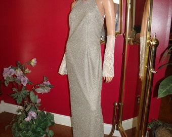Vintage Flapper Dress Lace  Metallic  does 20-30 style Size 10