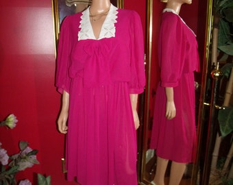 Vintage Girl 80s Flapper Dress Fuchsia   does 20-30s Office Lady Size