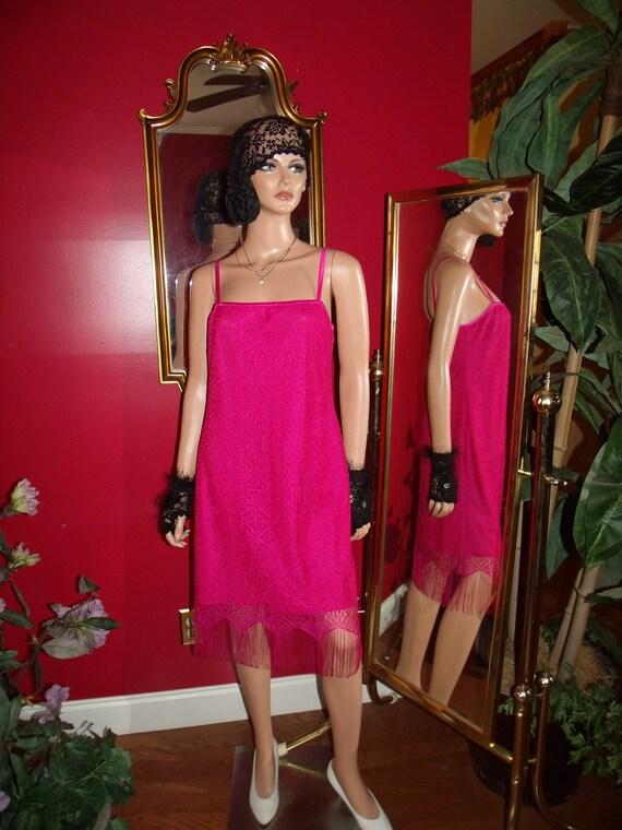 Vintage Dress Flapper Art Deco  Lace Fringe does 20-30s Size12
