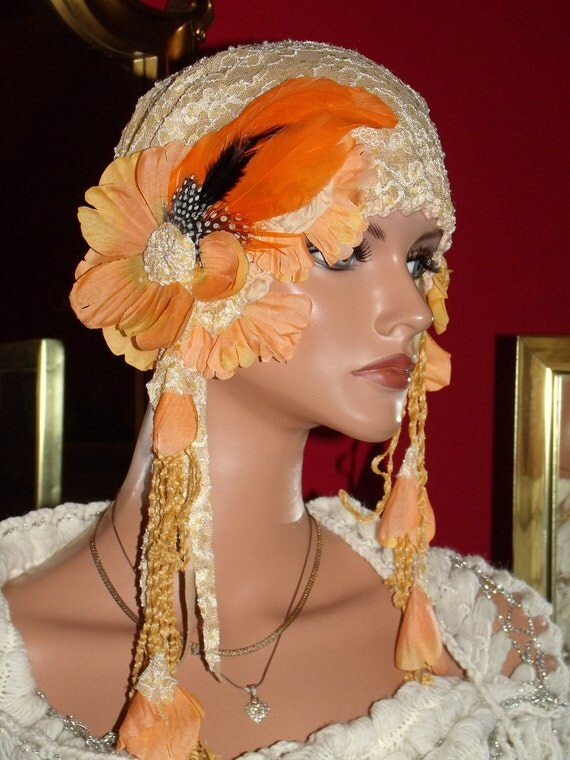 1920s Flapper Hat Cloche Hat  Pale yellow Sequins  Fringe Lace Millinery Floral Tea Party