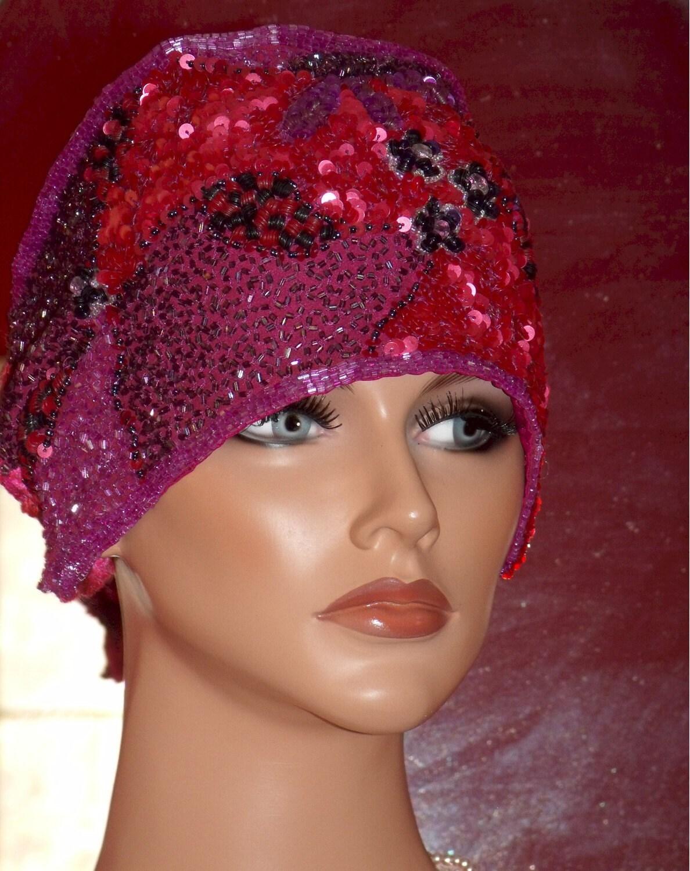 headband mini hat flapper 20 style free form beaded sequins