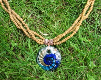 Myrrh necklace 21 inches with Spiral 1 3/2 inch soft glass pentdant