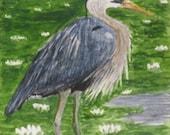 Blue Heron Water Lilies ACEO - Original Watercolor