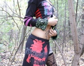 It's A Deadly Nightmare  -- Halloween Collection -- DIY PYSCHO RECORDS Houndstooth Mini SKIRT OOAK