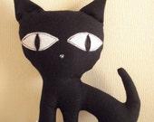 Black Kitten- made to order-  stuffed, toys, cat, kitten, kitty