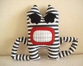 Angry Monster with Blue Stripes, stuffed toys, Plushie, Softie