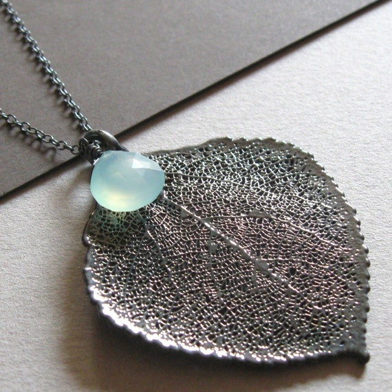 Genuine Oxidized Aspen Leaf and Aqua Chalcedony Necklace
