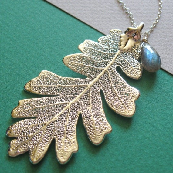 Genuine Oak Leaf and Labradorite Necklace