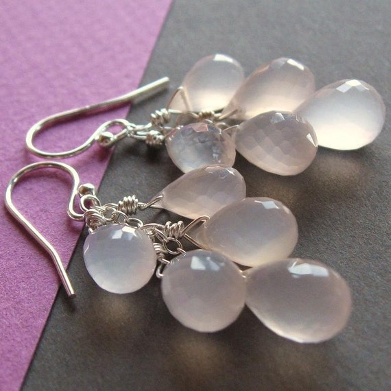 Pink Chalcedony Cluster Earrings