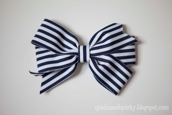 Navy and White Nautically-Inspired Hair Bow