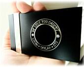 Custom Business Card Case, Personalized, Camera, Silver Black, Mens Unisex