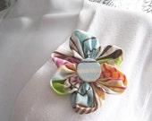 Kanzashi Fabric Flower Brooch Pin Hair Clip Multi Color Stripe