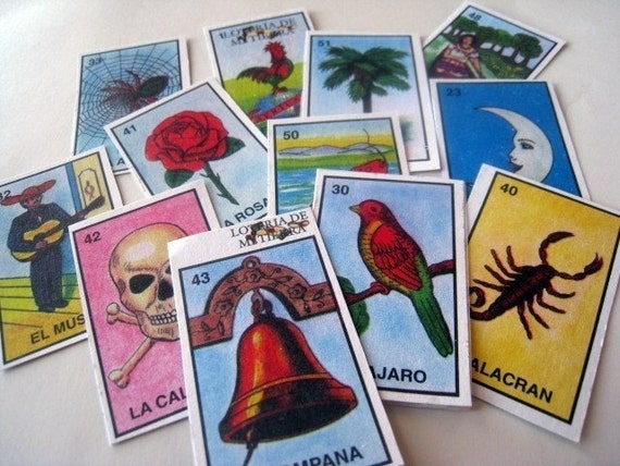 Set of 12 Handcut Mexican Loteria Stickers