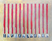 Abstract Painting with absurdist poem, stripes