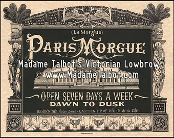Paris Morgue Death House Victorian Lowbrow Cadaver Poster