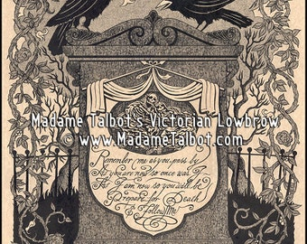 O Death Victorian Tombstone Raven Crows Mourning Funeral Poster