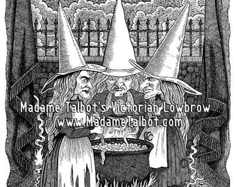Macbeth Trinity of Witches Old Crones Gothic Lowbrow Poster