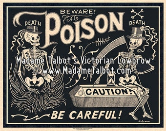 Black Poison Parchment Label Poster Skeleton Madame Talbot's Victorian Lowbrow