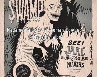 Jake the Alligator Man Marsh's Dime Museum Victorian Lowbrow Poster