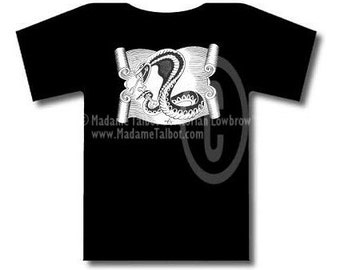 Tattoo Snake and Scroll Black T-Shirt Madame Talbot's Victorian Lowbrow