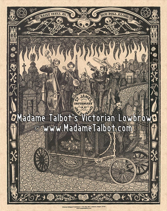 St. James Infirmary New Orleans Jazz Funeral Skeleton Victorian Lowbrow Poster