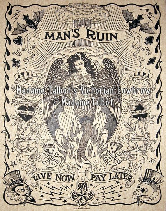 Man's Ruin Burlesque Pin Up Hellish Hot Rod Lowbrow Parchment Poster