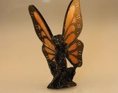 Stained Glass Monarch Butterfly Hand-Painted Fairy Figurine - Made to Order (MON021)