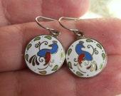 Vintage Blue Bird Enamel Earrings