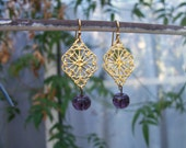 Purple Lace Earrings Filigree Drops color choice