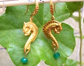 Golden Seahorse In Green Onyx