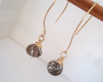 Riticulated Quartz and gold fill earrings