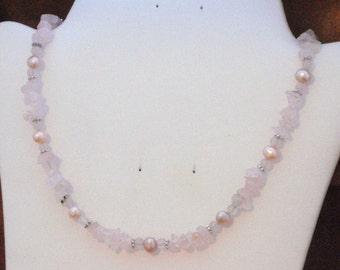 Rose Quartz and Freshwater Pearl Necklace- N-029