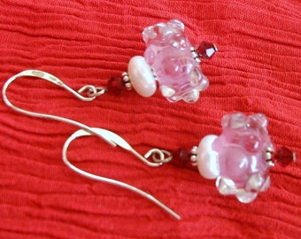 Lampwork Earrings, button pearls, crystal, sterling silver, dangle- 25 PERCENT OFF