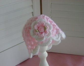 Crocheted Baby Girl Hat Pink Ribbon Rose Photo Prop Gift Baby Boutique Style