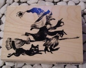 Night of the Witch Penny Black Halloween wood mounted Rubber Stamp