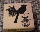 Cardinal Silhouette wood mounted Rubber Stamp