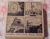 Travel Collage London, New York, Paris, Rome wood mounted Rubber Stamp