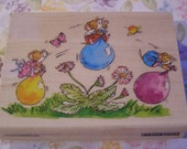 Play Date Penny Black wood mounted Rubber Stamp