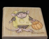 Trick or Cheese Halloween Stamp House Mouse Designs wood mounted Rubber Stamp