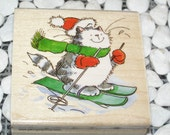White Slopes Kitty Cat wood mounted Penny Black Rubber Stamp